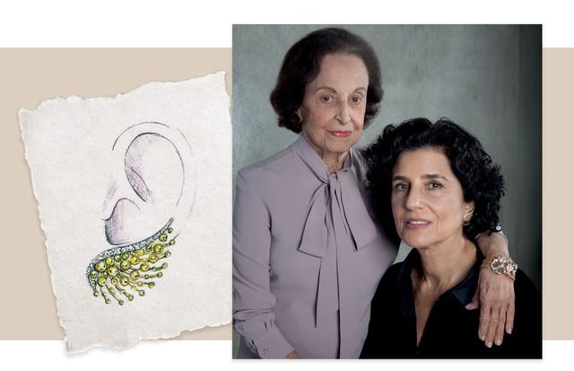 Rosita usa a pulseira de ouro e diamantes. Marília, os novos brincos, feitos dos mesmos materiais (Foto: Rogério Cavalcanti)