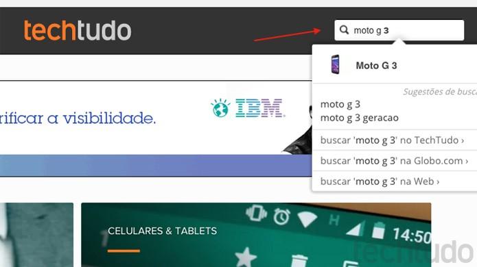 Busca interna do TechTudo tem reviews, testes, vídeos e tudo sobre o seu celular (Foto: Reprodução/TechTudo)