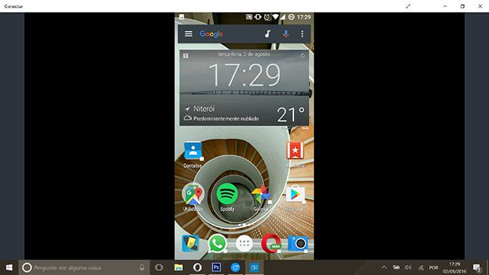 Windows 10 começará a transmitir tela do smartphone Android no app Conectar (Foto: Reprodução/Elson de Souza)