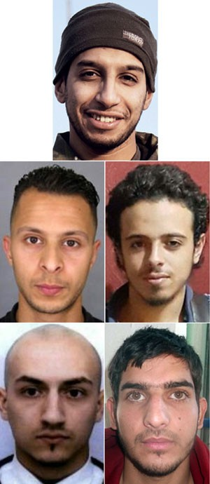 Montagem mostra suspeitos que estariam por trás dos ataques em Paris. Do topo, em sentido horário: Abdelhamid Abaaoud (o líder, 28 anos, belga), Samy Amimour, um homem não identificado, Bilal Hadfi (francês) e Salah Abdeslam  (Foto: AFP)