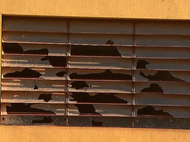 Vidros quebrados denunciam abandono em obra na rodoviária de Serrana (Foto: Maurício Glauco/EPTV)