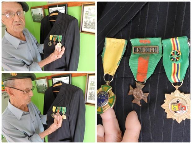 Nalesso exibe com orgulho medalhas conquistadas no combate (Foto: Caio Gomes Silveira/ G1)