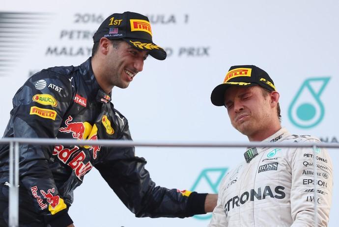 Nico Rosberg e Daniel Ricciardo no GP da Malásia Shoey (Foto: Getty Images)