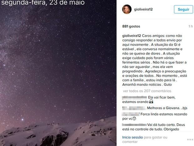 Gustavo Correa agradece orações e preocupação de todos por rede social (Foto: Instagram/Reprodução)