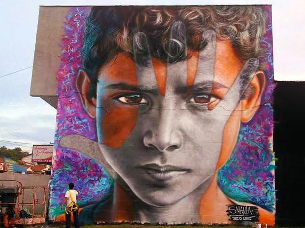 Leonardo Donanzan grafitou um muro em Americana, São Paulo (Foto: Campanha Education is not a crime)