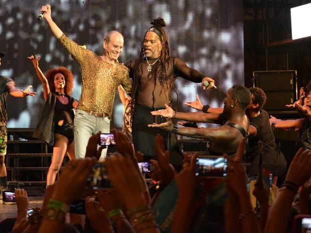 Ney Matogrosso e Carlinhos Brown em show em Salvador, na Bahia (Foto: Felipe Souto Maior/ Ag. News)