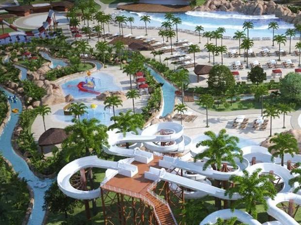 O Aqualand terá um investimento superior a R$ 250 milhões e mais de 15 atrações espalhadas por aproximadamente 200 mil metros quadrados de área (Foto: Divulgação/Agencia Pará)