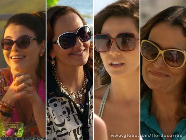 Confira os modelos usados por Amaralina, Guiomar, Mila e Yvete (Foto: Flor do Caribe / TV Globo)