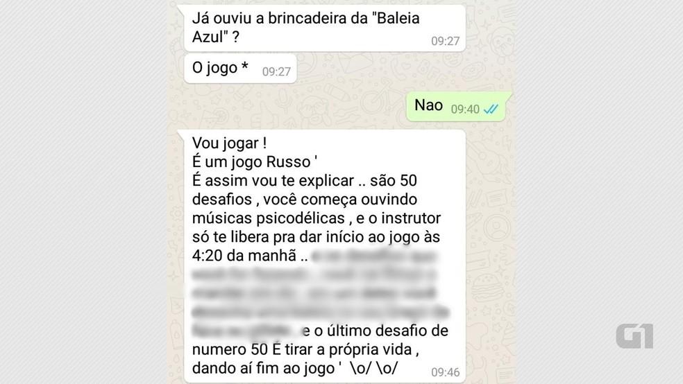 Mensagens trocadas por alunos de escola da zona sul de João Pessoa no WhatsApp explicam como funciona o jogo da 'Baleia Azul' (Foto: Arnaldo Sobrinho/PMPB/Reprodução/Whatsapp)
