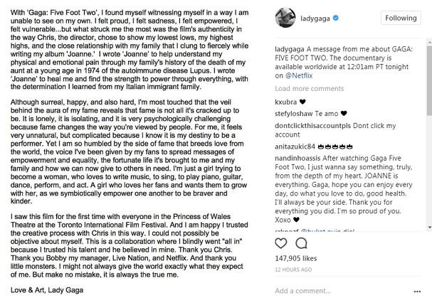 Lady Gaga faz desabafo antes de lançar documentário (Foto: Instagram/Reprodução)