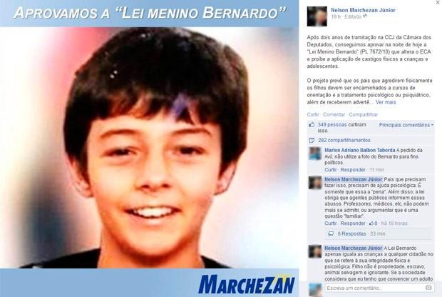 Assessoria do deputado deletou postagem após pedido de advogado em comentário (Foto: Reprodução/Facebook)