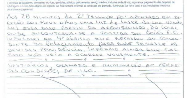 Àrbitro Antônio Denival de Moraes relata o uso do laser no jogo (Foto: Reprodução/CBF)