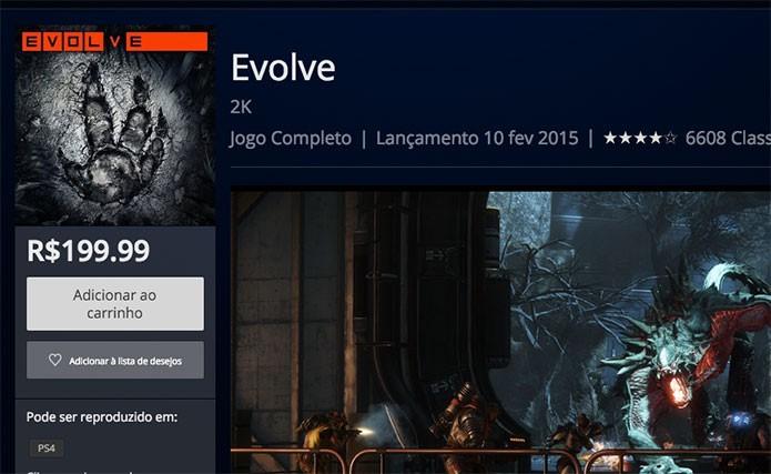 Comprando Evolve na PSN (Foto: Reprodução/Felipe Vinha)