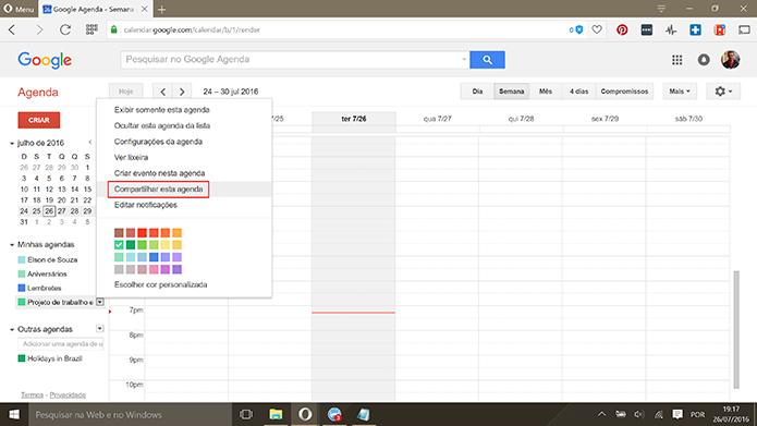 Usuário pode compartilhar agendas já existentes no Google Calendar (Foto: Reprodução/Elson de Souza)