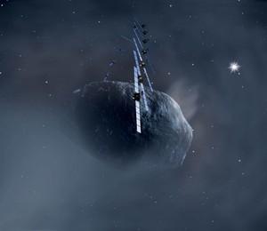 Uma imagem de Rosetta orbitando o cometa 67P/Churyumov-Gerasimenko. Para os astrônomos, é importante obter mais informações sobre esses corpos celestes. Cometas como esse teriam trazido água à Terra, permitindo o surgimento de vida (Foto: Reprodução/ ESA)
