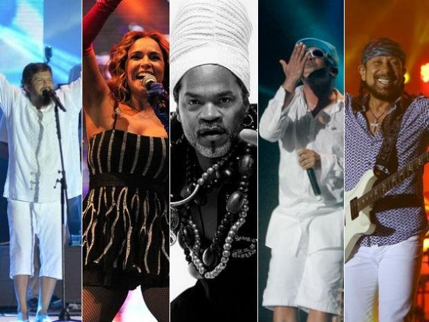 Saulo, Daniela Mercury, Carlinhos Brown, Psirico e Bell Marques são atrações (Foto: Montagem / G1)