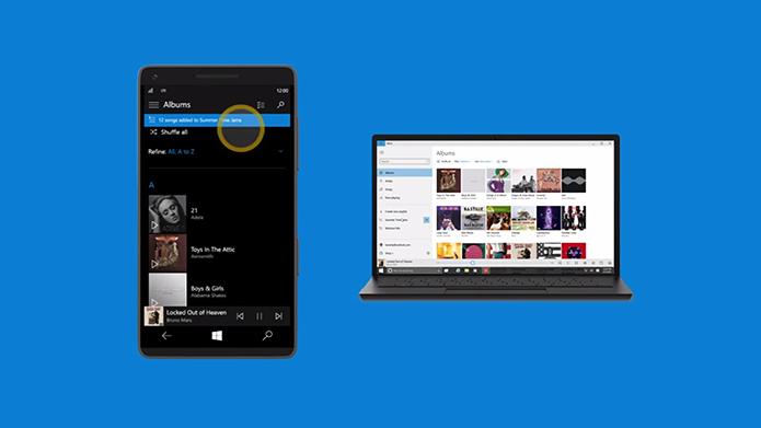 Xbox Music também será compartilhado entre Windows 10 de computadores e smartphones (Foto: Reprodução/Microsoft)