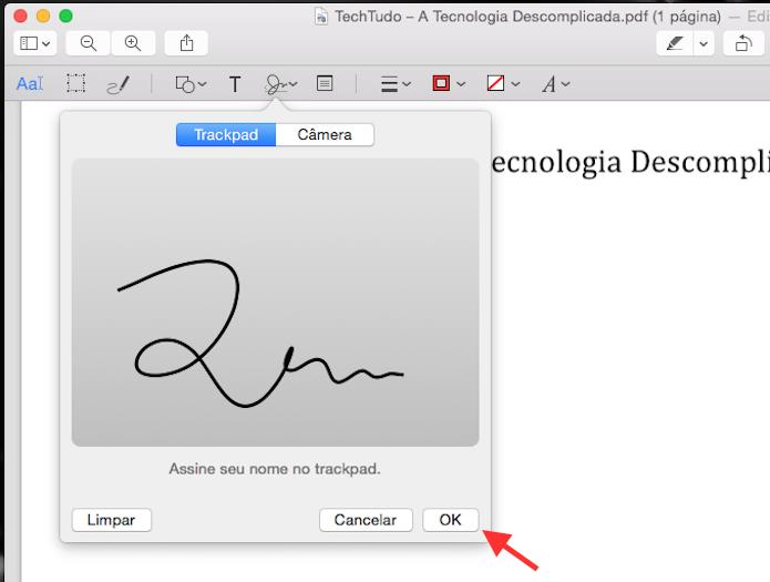 Insira uma assinatura com o trackpad do Macbook (Foto: Reprodução/Marvin Costa)