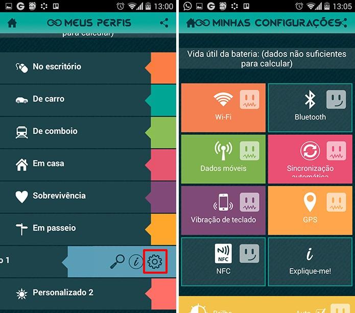 GREENiSCORE permite que usuário crie seu próprio perfil para economizar bateria (Foto: Reprodução/Elson de Souza)