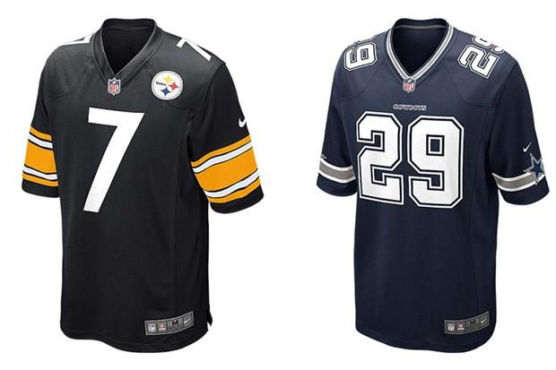 Camisas de Pittsburgh Steelers e Dallas Cowboys também estão entre as vendidas no Brasil (Foto: Divulgação)
