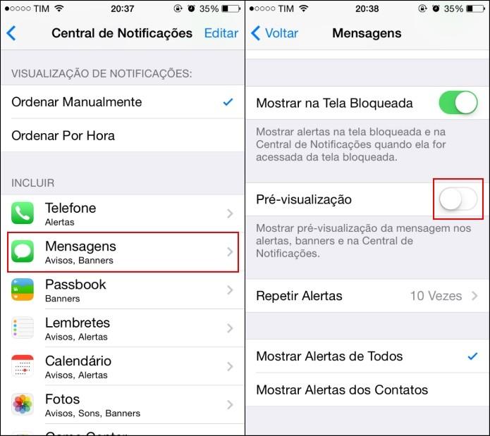 Desativando pré-visualização de SMS (Foto: Reprodução/Helito Bijora)