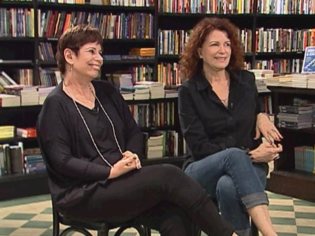 Emilia Silveira e Sandra Moreyra nos bastidores do programa 'Amanaque'  (Foto: Divulgação/Globonews)
