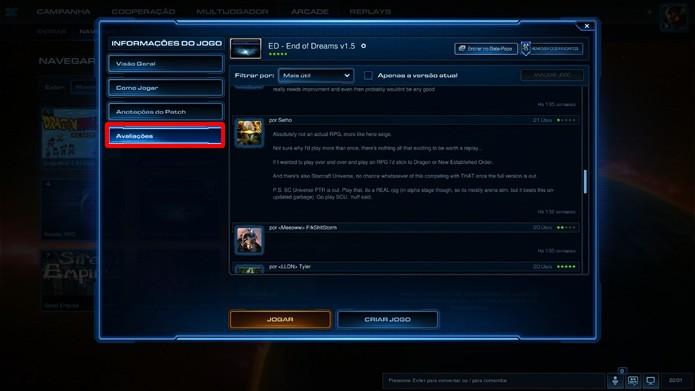 """Em """"Avaliações"""" é exibida uma lista de comentários e notas do jogo (Foto: Reprodução/Daniel Ribeiro)"""