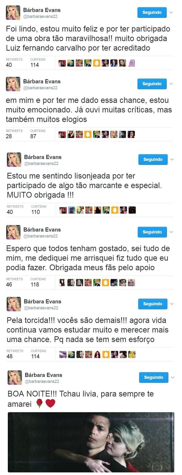 Bárbara Evans se despede de Dois Irmãos e comenta estreia como atriz (Foto: Reprodução/Twitter)