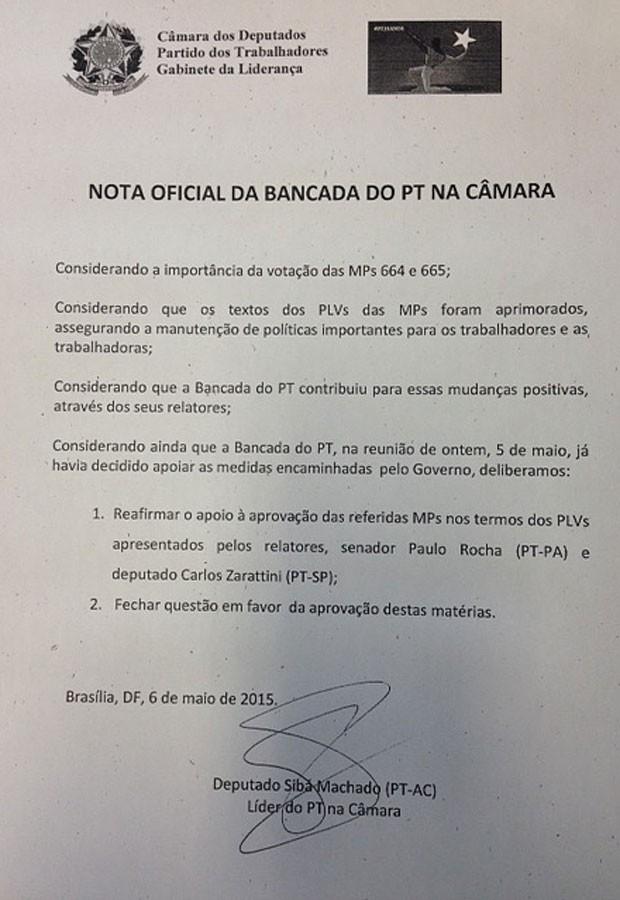 Nota oficial da bancada do PT sobre o apoio às medidas do ajuste fiscal (Foto: Reprodução)