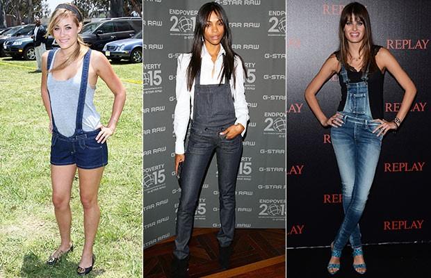 Lauren Conrad, Zoe Saldana e Isabeli Fontana - Macacão Jeans (Foto: Agência Getty Images)