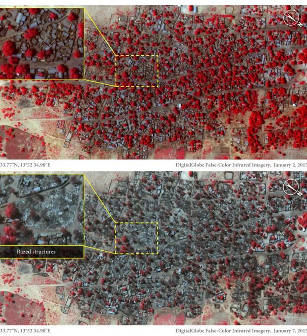 Imagens mostram a cidade de Baga em imagens de satélite nos dias 2 de janeiro (acima), com estruturas e vegetação (em vermelho) e abaixo, em imagem de 7 de janeiro, após os ataques, com a cidade destruída  (Foto: © DigitalGlobe)