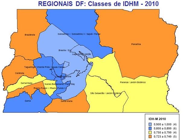 Mapa com as classes de IDHM no Distrito Federal  (Foto: Fundação João Pinheiro/Reprodução)