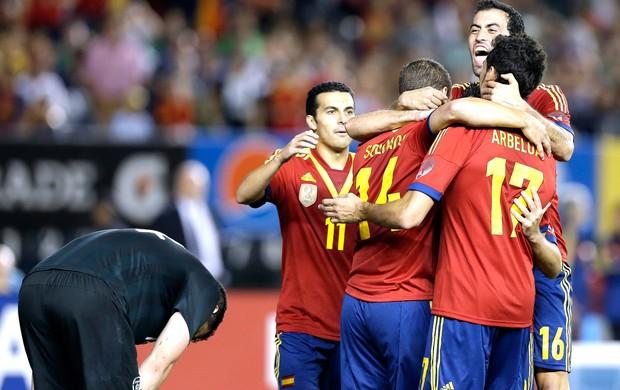 Comemoração da Espanha contra a IRlanda (Foto: Agência AP)