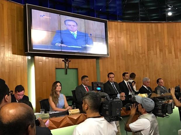 posse vereadores na Câmara de Uberlândia (Foto: Rogério Simões/G1)