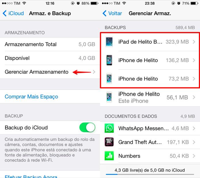 Lista de backups armazenados no iCloud (Foto: Reprodução/Helito Bijora)