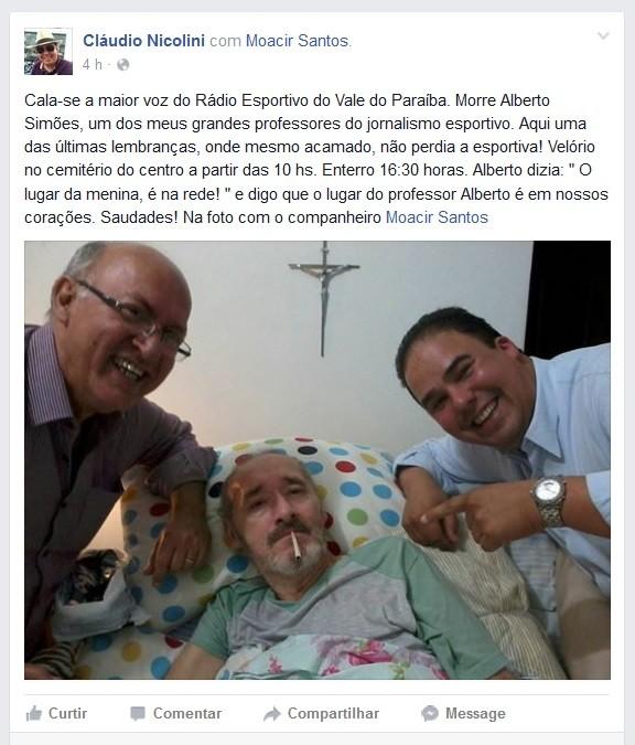 Claudio Nicoline Alberto Simões (Foto: Reprodução/Facebook)