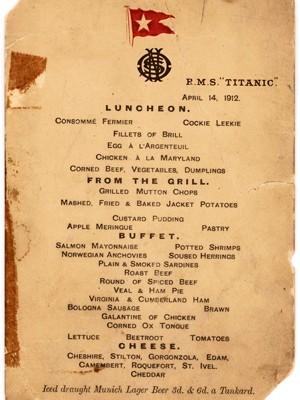 Foto sem data do cardápio do último almoço servido a bordo do Titanic (Foto: Lion Heart Autographs via AP)