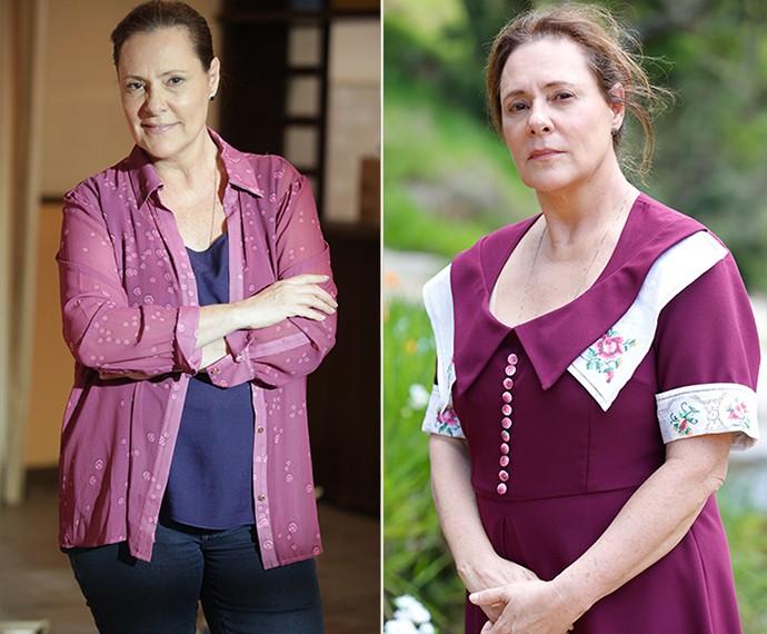 Elizabeth como Cristina em 'Alto Astral' e Cugenundes em 'Êta Mundo Bom!' (Foto: Ellen Soares/Gshow)
