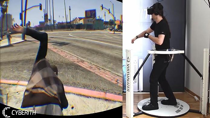 Jogadores visitam Los Santos de GTA 5 com a ajuda de periféricos de realidade virtual (Foto: Reprodução/YouTube)