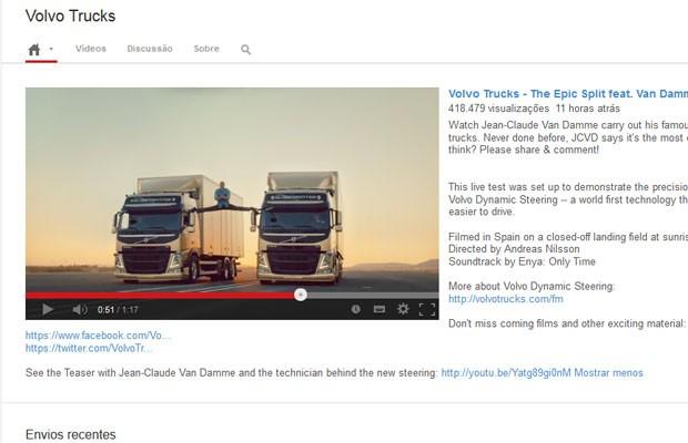 Vídeo da Volvo com Van Damme teve mais de 400 mil visualizações em 11 horas (Foto: Reprodução)