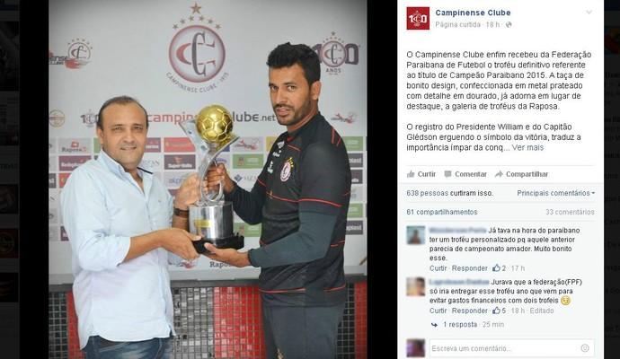 Campinense, nova taça, Campeonato Paraibano (Foto: Reprodução / Facebook)
