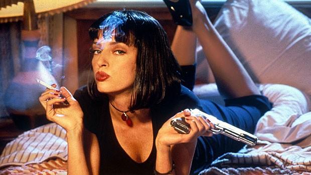 A atriz Uma Thurman, em sessão de fotos para promoção do filme Pulp Fiction' (Foto: Miramax/divulgação)