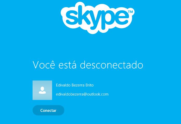 Skype desconectado (Foto: Reprodução/Edivaldo Brito)