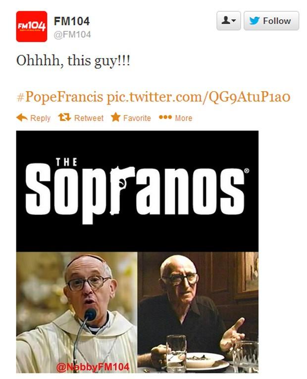 Emissora de rádio fez comparação entre Jorge Mario Bergoglio e 'Tio Soprano', da série 'Sopranos', interpretado pelo ator americano Dominic Chianese (Foto: Reprodução)