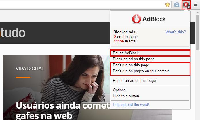 AdBlock oferece várias opções de bloqueio para customizar a experiência do usuário (Foto: Reprodução/Chrome)