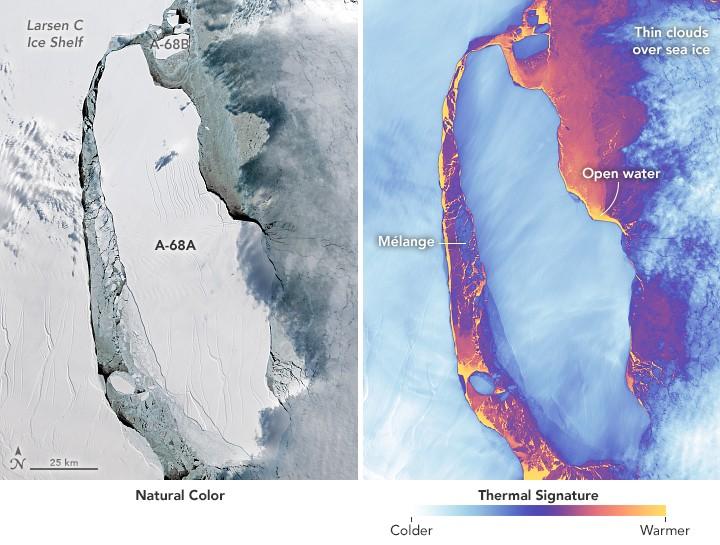 Com o tamanho do Distrito Federal, iceberg A-68 se afasta da plataforma Larsen C (Foto: NASA)