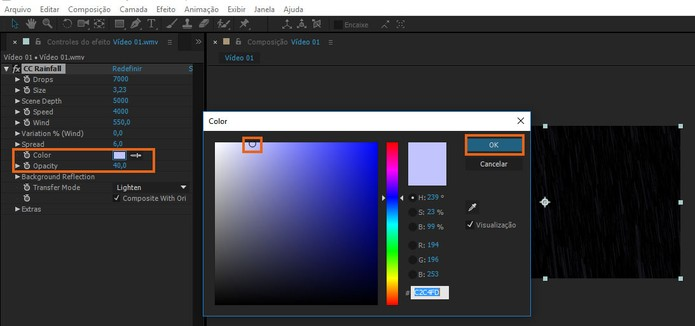 Se preferir selecione uma nova cor para o efeito e ajuste a opacidade (Foto: Reprodução/Barbara Mannara)