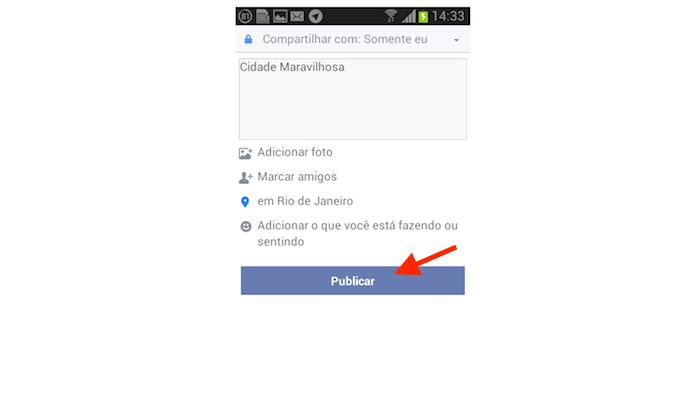 Realizando uma postagem com localização marcada no Facebook Lite para Android (Foto: Reprodução/Marvin Costa)