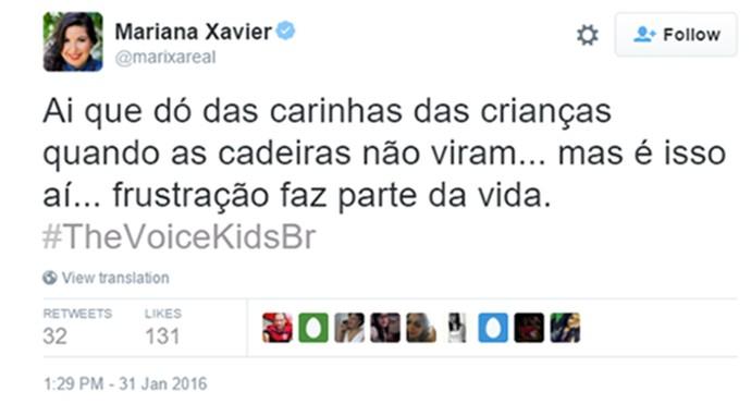 Mariana Xavier comenta The Voice Kids (Foto: Reprodução)