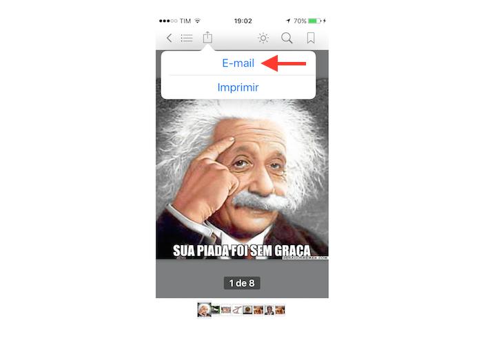 Anexando o documento PDF gerada em uma nova mensagem do Mail no iPhone (Foto: Reprodução/Marvin Costa)